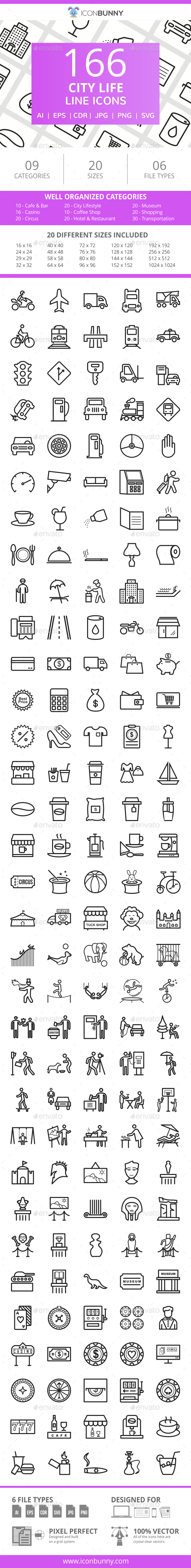 166 City Life Line Icons - Icons