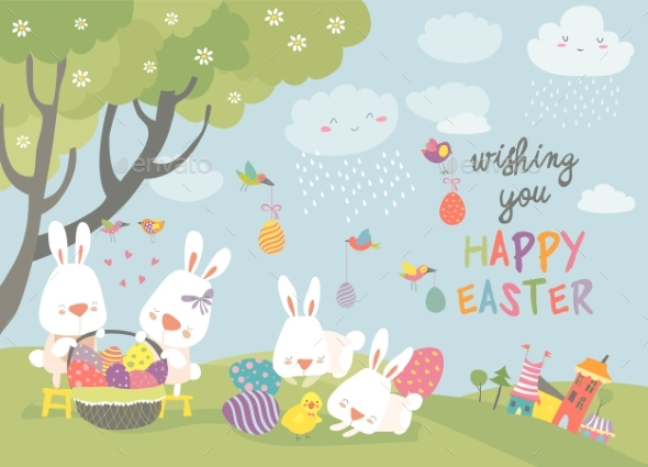 Easter Bunnies and Easter Egg - Miscellaneous Seasons/Holidays