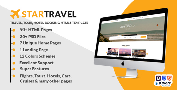 Image of Star Travel - Travel, Tour, Hotel Booking HTML5 Template