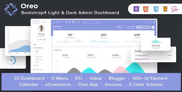 Image of Oreo - Bootstrap4 Admin Dashboard with Light & Dark Version + UI Kit