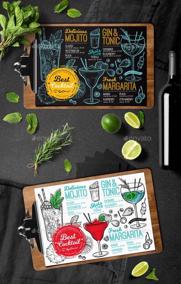 Cocktail Bar Menu - Food Menus Print Templates
