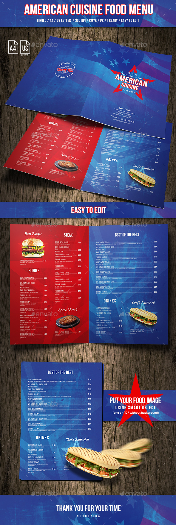 American Cuisine Food Menu A4 & US Letter - Food Menus Print Templates