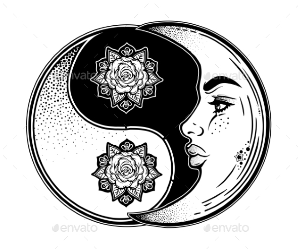 Yin and Yang Symbol with Decorative Crescent Moon - Tattoos Vectors