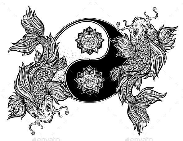 Yin and Yang Tao Floral Symbol with Koi Carp Fish - Tattoos Vectors