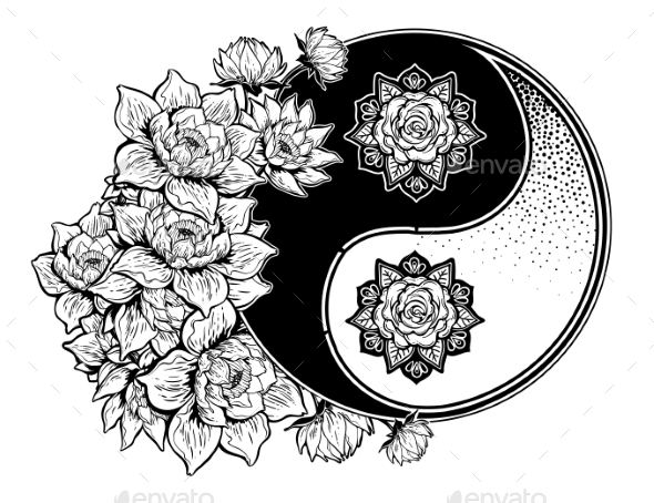 Yin and Yang Symbol with Lotus Lily Flower Stems - Tattoos Vectors