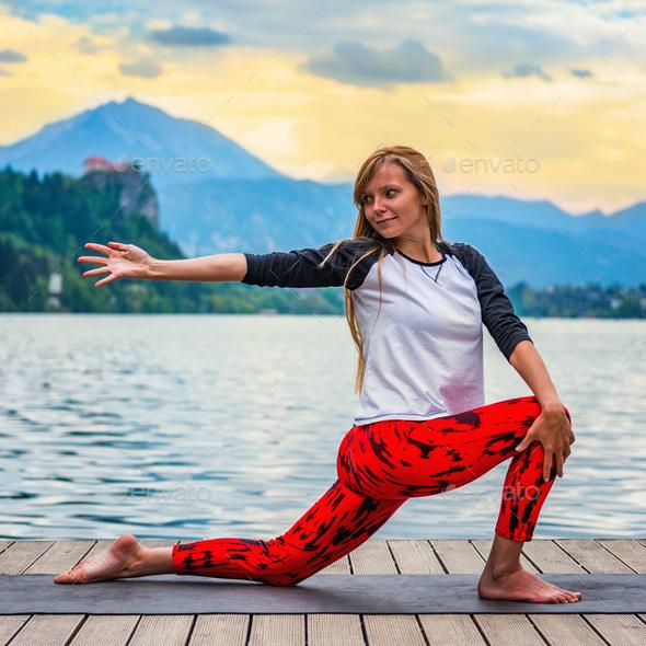 Yoga nature mindfulness lake2  0611 n - Stock Photo - Images