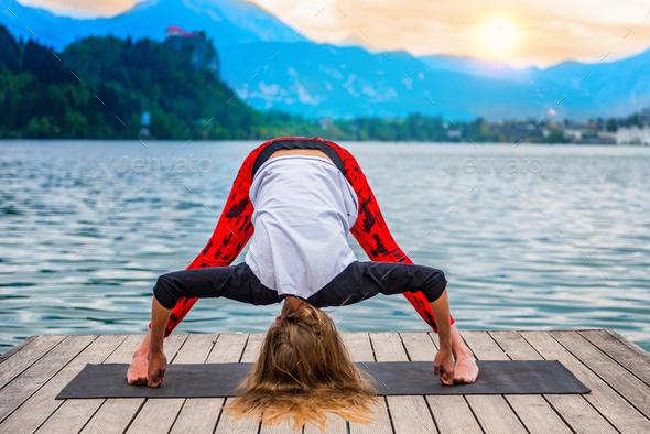 Yoga nature mindfulness lake2  0600 n - Stock Photo - Images