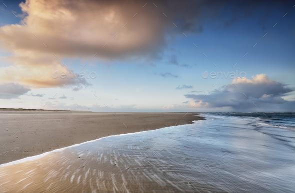 sunrise on North sea coast - Stock Photo - Images
