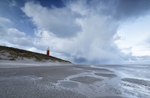 windy stormy morning on north sea coast - Stock Photo - Images