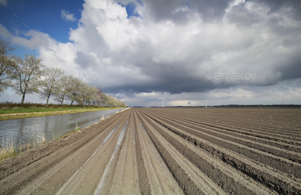 plowed field, canal and blue sky - Stock Photo - Images