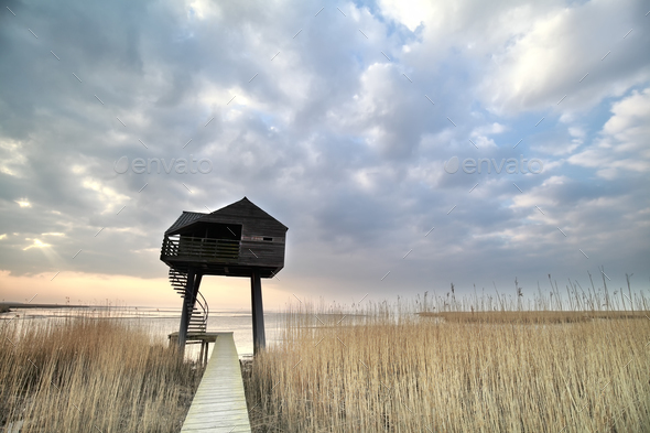 wooden observation tower over sky - Stock Photo - Images