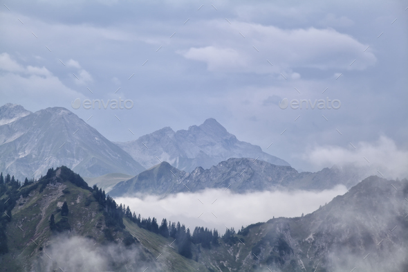 fog between mountain ridges - Stock Photo - Images
