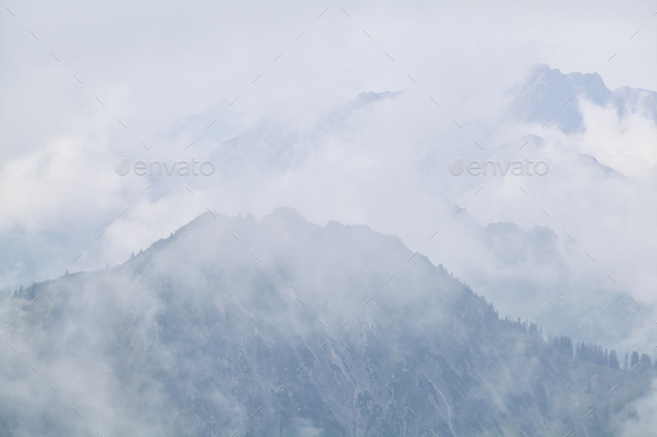 dense fog in mountains after rain - Stock Photo - Images