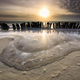 frozen waves by breakwater at sunset - PhotoDune Item for Sale