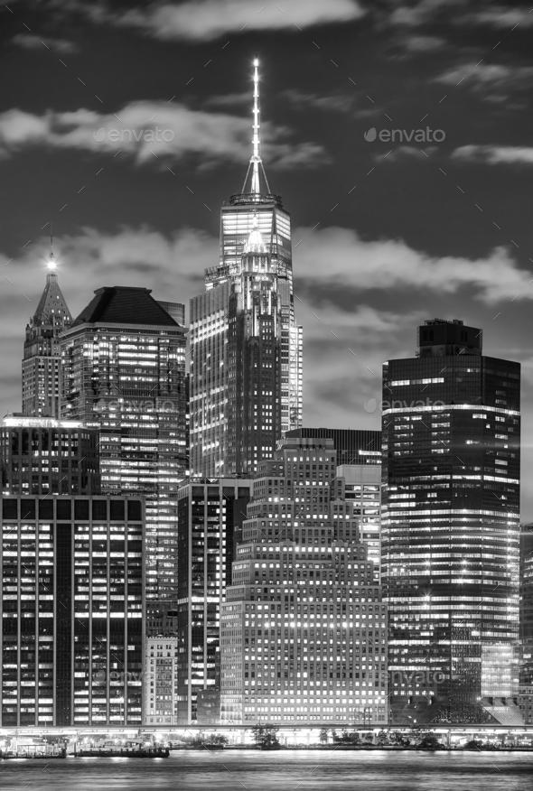 Manhattan skyscrapers at night, New York City, USA. - Stock Photo - Images