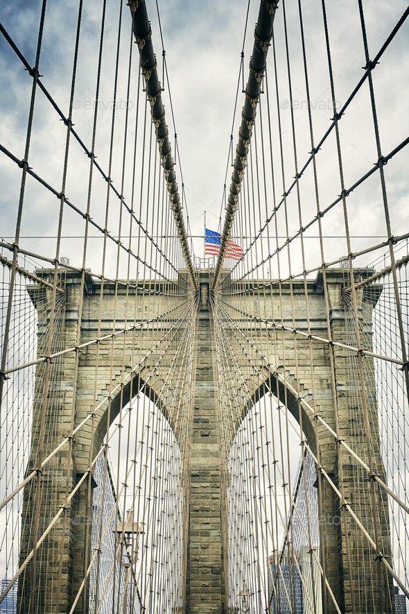 Retro stylized picture of the Brooklyn Bridge, New York. - Stock Photo - Images