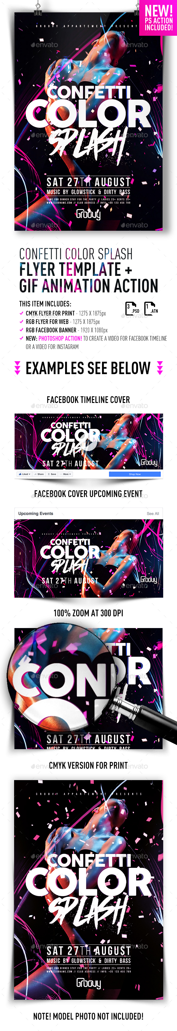 Confetti Color Splash Flyer + GIF Animation Action - Clubs & Parties Events