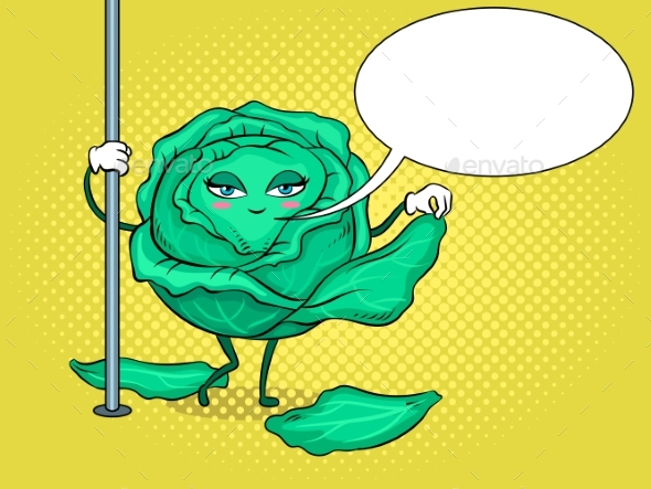 Cabbage Pole Dancer Pop Art Vector Illustration - Food Objects