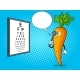 Carrot Check Vision Pop Art Vector Illustration - GraphicRiver Item for Sale