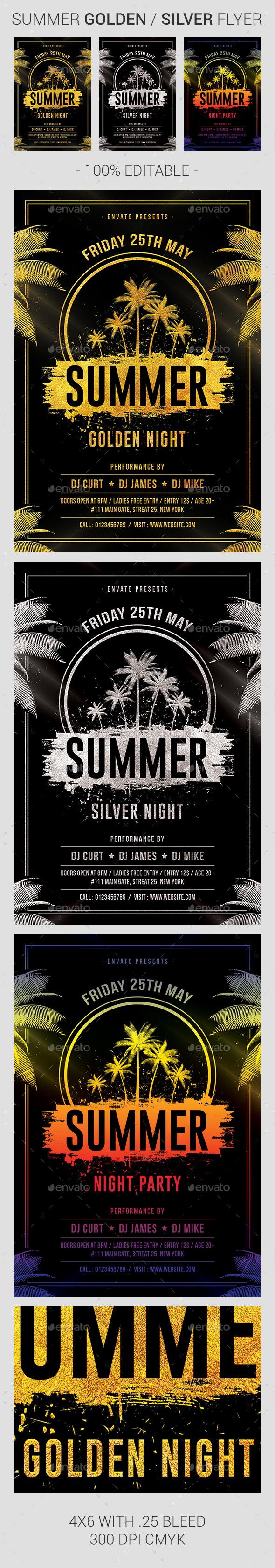 Summer Golden Night Flyer - Clubs & Parties Events