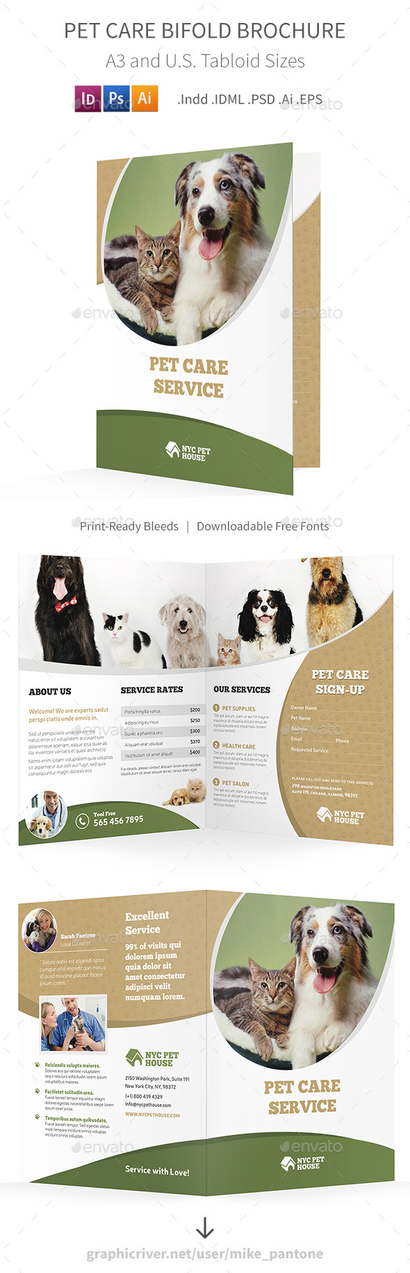 Pet Care Bifold / Halffold Brochure - Informational Brochures