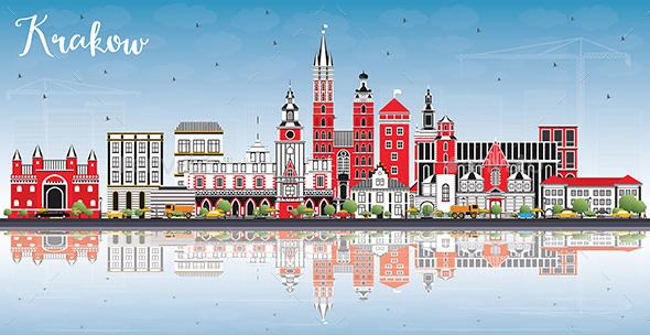 Krakow Poland City Skyline with Color Buildings - Buildings Objects