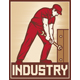 Worker Holding Wrench - Industry Retro Poster Vector Illustration