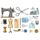 Set of Sewing Tools and Materials or Elements - GraphicRiver Item for Sale