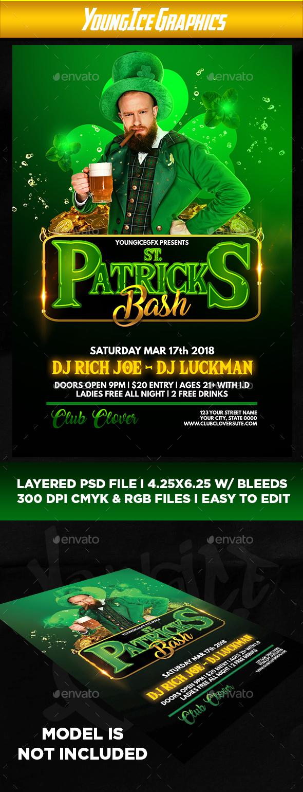 St Patricks Bash Flyer Template - Clubs & Parties Events