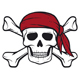 Pirate Skull with Red Bandanna and Crossed Bones