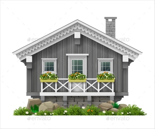 Traditional Finnish Scandinavian Wooden House - Buildings Objects