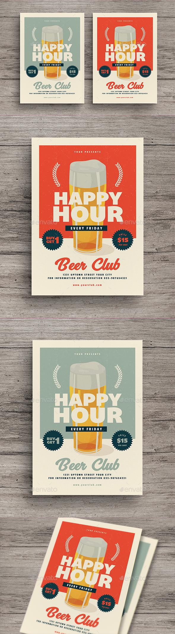 Retro Happy Hour Beer Flyer - Events Flyers
