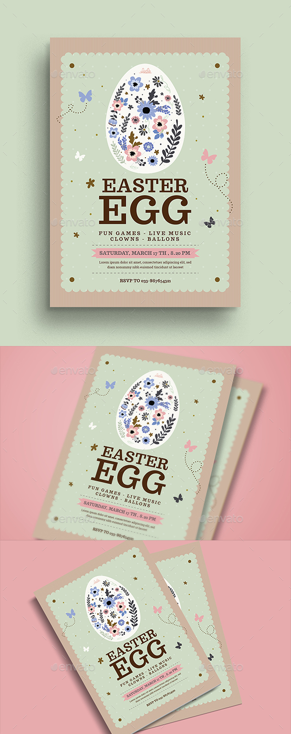 VIntage Floral Easter Egg Flyer - Events Flyers