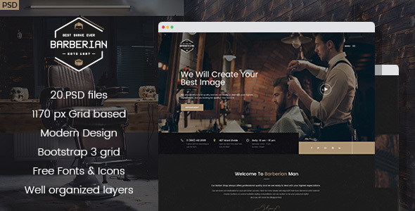 Barberian - Professional Barber Shop & Hair Salons PSD Template - Health & Beauty Retail
