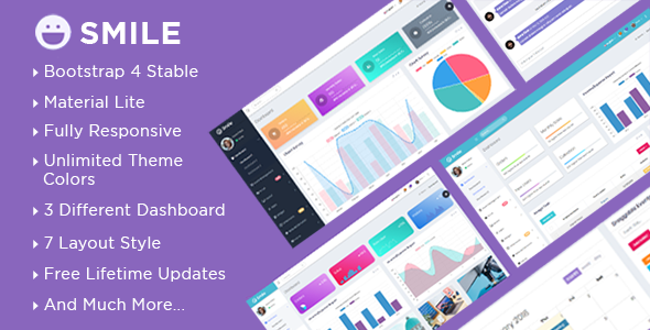 Smile - Bootstrap 4 Admin Dashboard Template + UI Kit - Admin Templates Site Templates