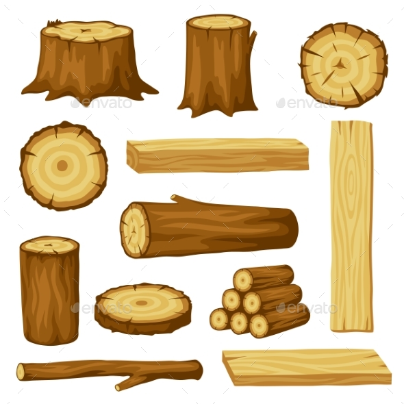 Set of Wood Logs for Forestry and Lumber Industry - Industries Business