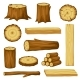 Set of Wood Logs for Forestry and Lumber Industry