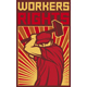 Workers Rights Poster Retro Illustration - Man Holding a Hammer - GraphicRiver Item for Sale