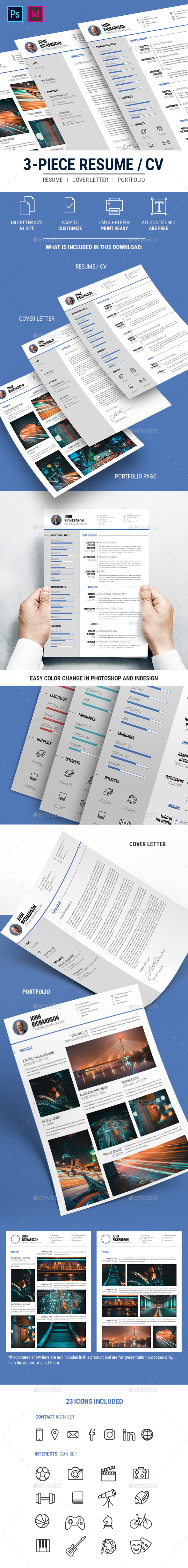 Clean Modern 3-Piece CV Resume - Resumes Stationery