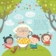 Granny and Her Grandchildren with Cake - GraphicRiver Item for Sale