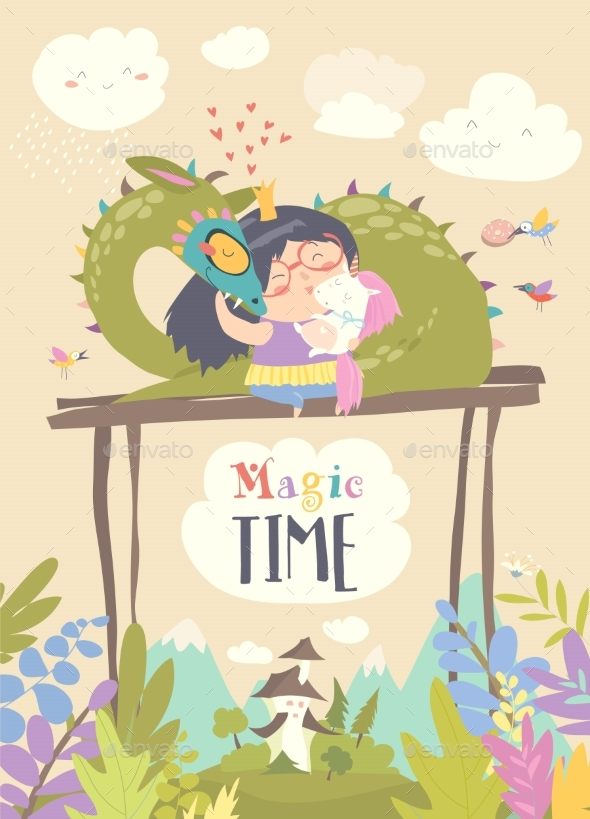 Cartoon Dragon, Unicorn and Little Princess - Animals Characters