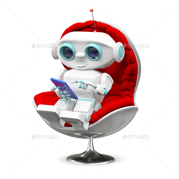 Illustration Little Robot In the Armchair - Characters 3D Renders