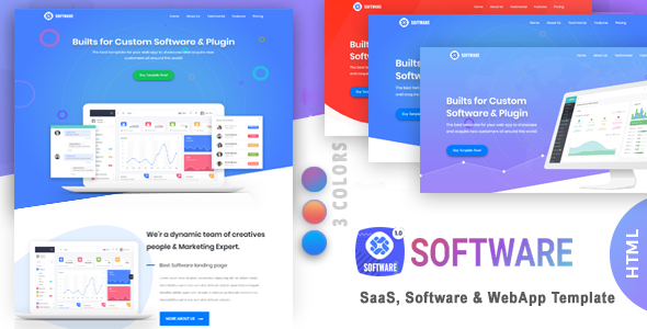 Software | SaaS, Software & WebApp Template - Technology Landing Pages