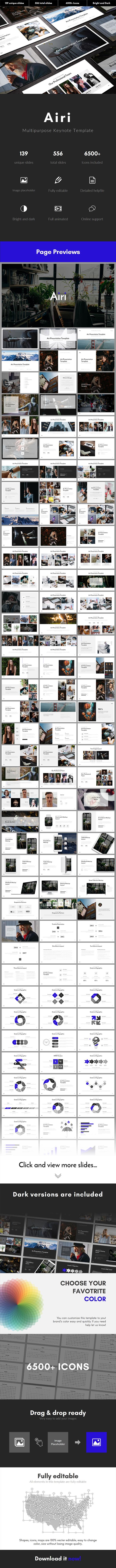 Airi Multipurpose Keynote Template - Business Keynote Templates