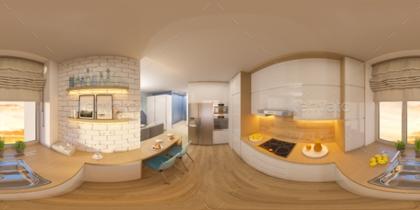 3d Illustration Spherical 360 Degrees, Seamless - Architecture 3D Renders