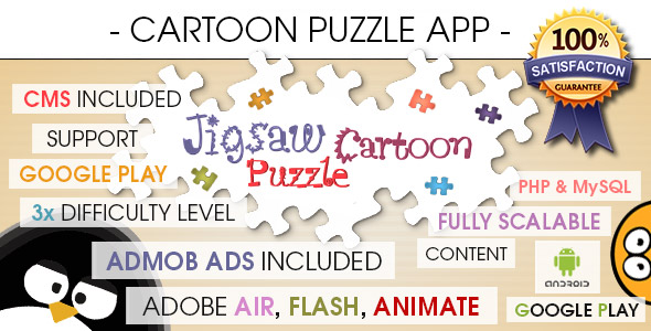 Jigsaw Cartoon Puzzle With CMS & AdMob - Android - CodeCanyon Item for Sale
