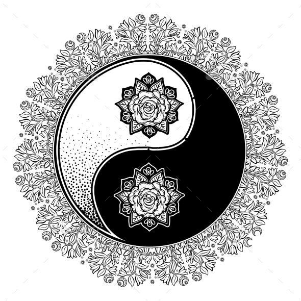 Yin and Yang Tao Mandala Decorative Symbol. - Decorative Symbols Decorative