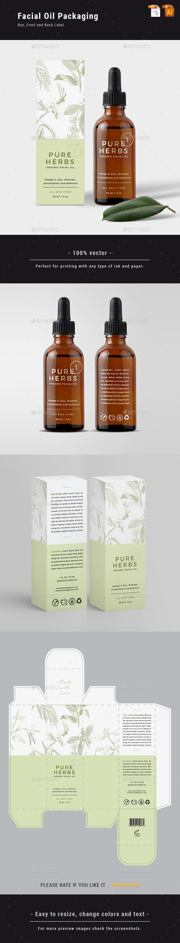 Organic Facial Oil Packaging - Packaging Print Templates