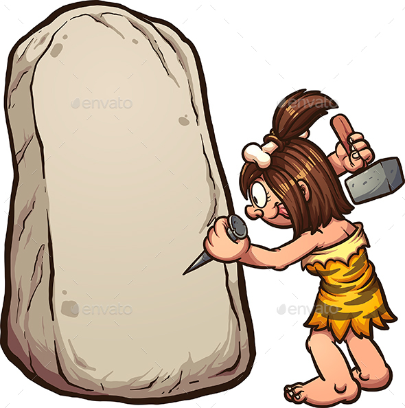 Cave Woman Writing on Stone - People Characters