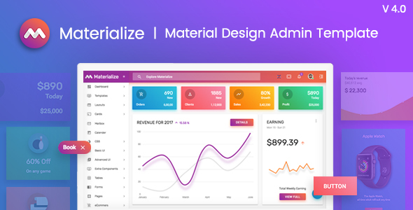 Materialize - Material Design Admin Template - Admin Templates Site Templates